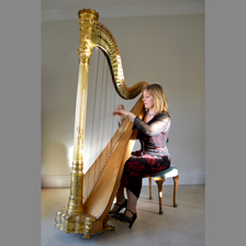 Ruth Holden and her harp